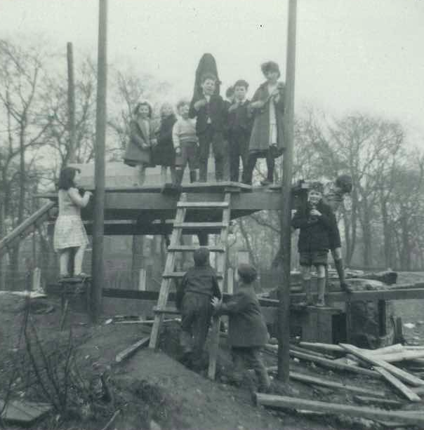 Children stand on makeshift structure. Sparkbrook Adventure Playground (early 1960s). Image courtesy of Geoff Gaisford's personal archive.